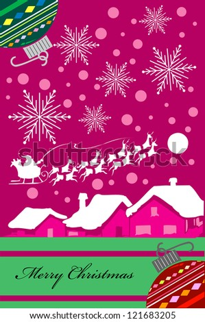 Vertical Christmas card design in purple tones. Raster Illustration. No Gradients were used, very easy to edit. - stock photo