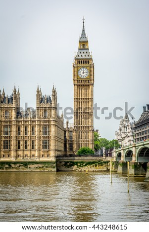 Vertical cityscape of London with the famous Big Ben by the Westminster bridge. Big Ben is the nickname for the Great Bell of the clock tower, which is officially known as Elizabeth Tower. - stock photo