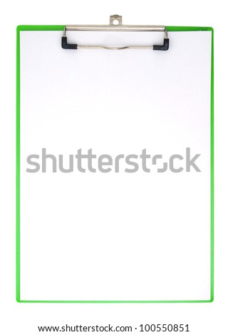 Vertical clipboard and white paper with clipping path