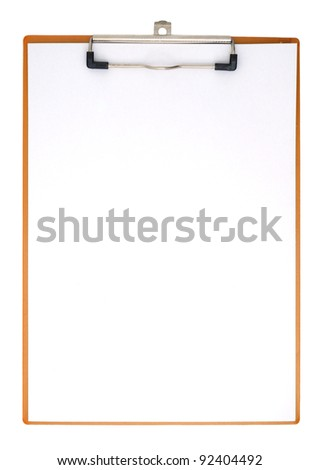 Vertical clipboard with white paper