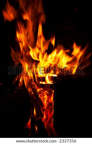 Vertical close-up of flames and fire on a black background - stock photo