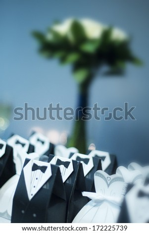 Vertical colour image of wedding favours - stock photo