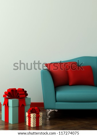 Vertical composition of a soft sofa with red pillows and colorful gifts - stock photo