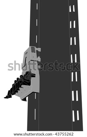 Vertical Drop Ride (side view) - stock photo