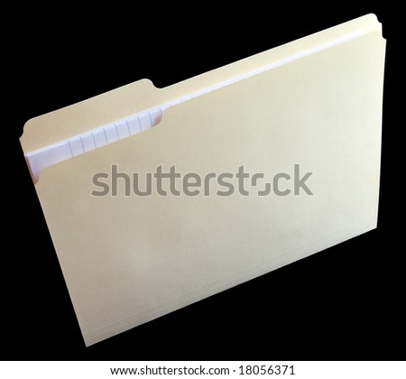 Vertical file folder with note paper