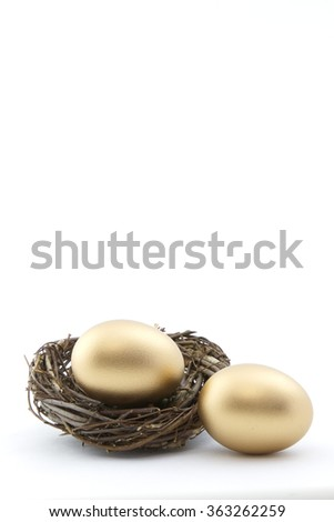 Vertical financial image of two, gold nest eggs with copy space above on white background.  - stock photo