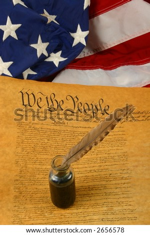 Vertical flag, Constitution of the USA and Quill Pen in Inkwell - stock photo