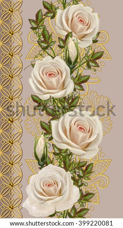 Vertical floral border. Pattern, seamless. Old style, mosaic. Pastel roses, flower garland - stock photo