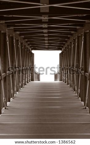 Vertical Foot Bridge Crossing - stock photo