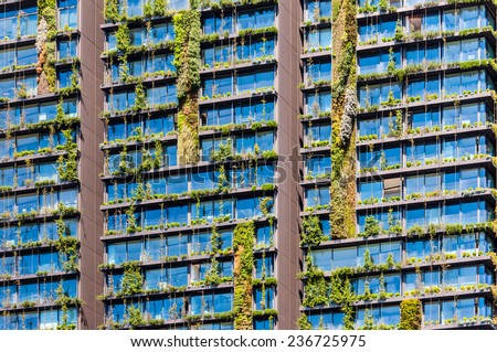 Vertical garden or living wall is a wall covered with living plants on residential building, Sydney Australia - stock photo