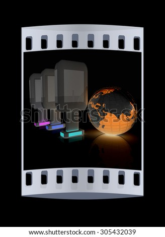 Vertical glossy billboards and earth. 3d illustration on black background. The film strip - stock photo