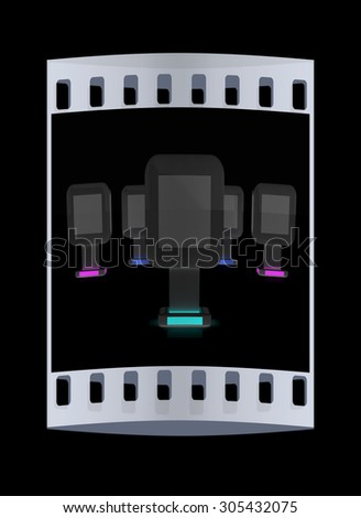Vertical glossy billboards. 3d illustration on black background. The film strip - stock photo