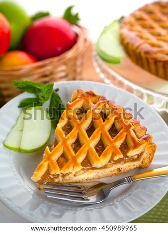 Vertical green apple tart pie cake snack dessert pastry fruitcake - stock photo