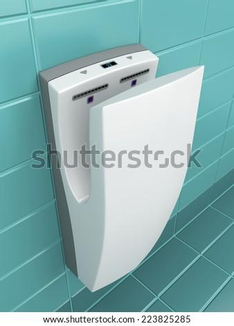 Vertical hand dryer in public WC - stock photo