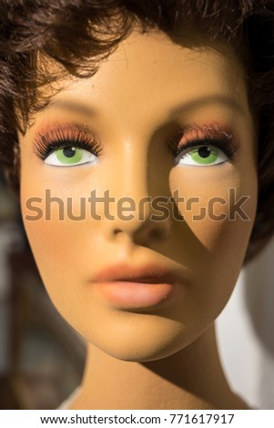Vertical Head Shot Female Mannequin Painted Stock Photo Royalty