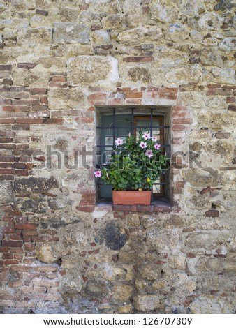 Vertical image of an aging wall with small window decorated with flowers