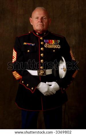 Vertical image of an older Marine Veteran in full dress uniform - stock photo