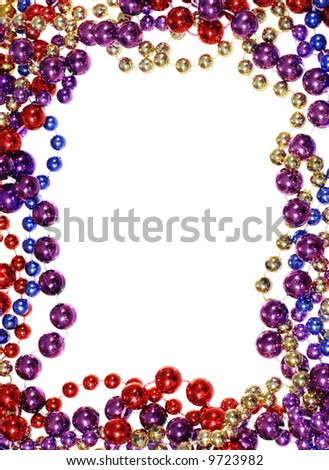 vertical image of border outline frame of  Mardi Gras bead necklaces isolated on white - stock photo