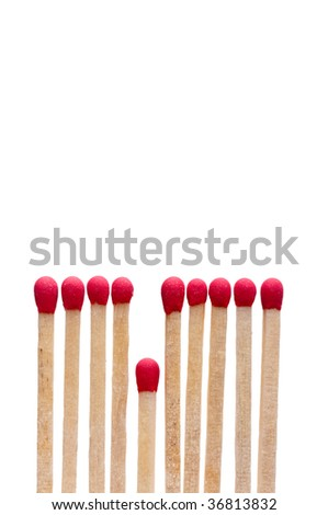 Vertical image of matches on white - the short straw - stock photo
