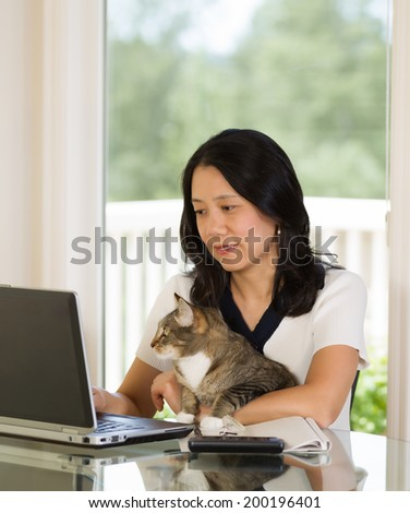 Vertical image of mature woman and her cat both looking at laptop screen while working from home with bright daylight coming through window in background  - stock photo