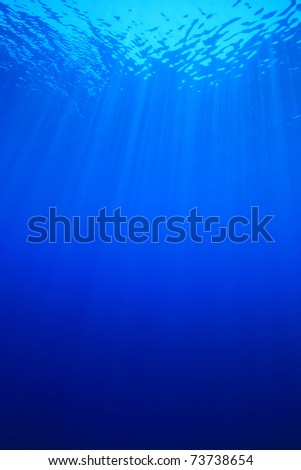 Vertical image of sun rays in clear blue sea water - stock photo