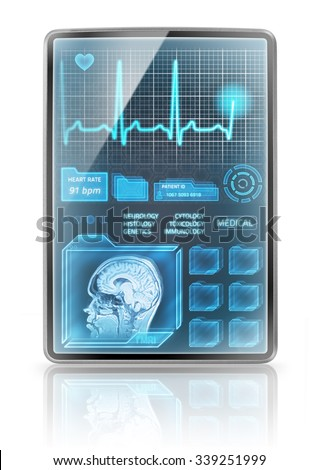 Vertical medical tablet - stock photo