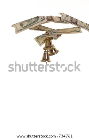 vertical of a cash tree branch with bells ringing in the profits of the holidays