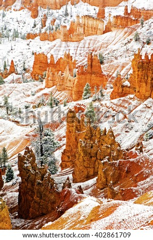 Vertical of Bryce Canyon National Park in winter - stock photo