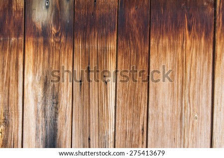 Vertical of wood, part of the old wall with streaks of rain. textural composition - stock photo