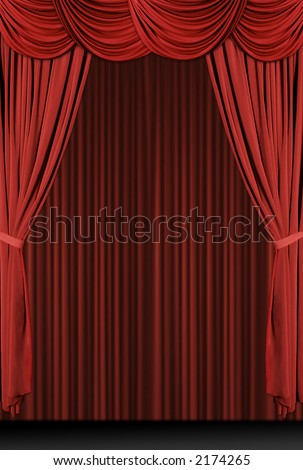 Vertical old fashioned, elegant theater stage with velvet curtains. - stock photo