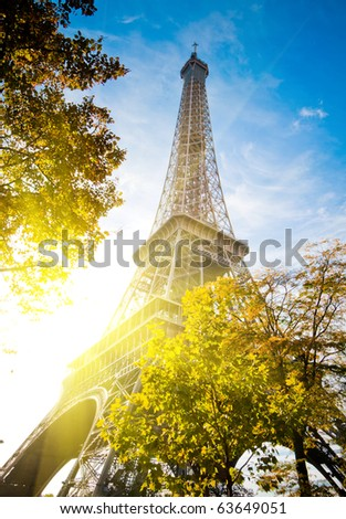 Vertical oriented image famous Eiffel Tower in Paris, France.