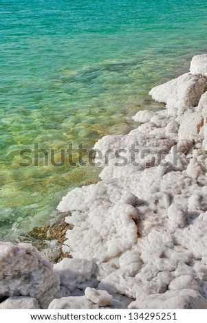 Vertical oriented image of salt formations on the Dead Sea along beautiful clear aquamarine colored water in Israel. - stock photo
