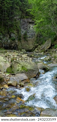 Vertical oriented panorama of the mountain river - stock photo