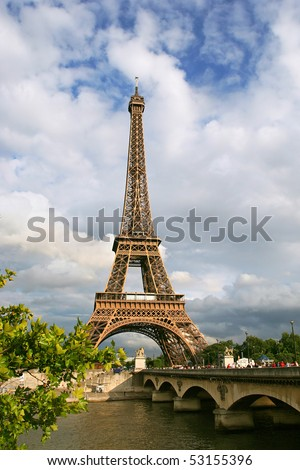 Vertical oriented photo of Eiffel Tower in Paris, France. - stock photo