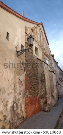 Vertical panorama of ancient house at Vilnius