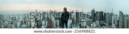 Vertical panorama of downtown São Paulo, Brazil - stock photo