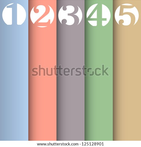 Vertical paper numbered banners in pastel colors.Raster version - stock photo