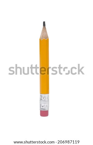 Vertical Pencil, Yellow Pencil, Clipping Path, isolated - stock photo