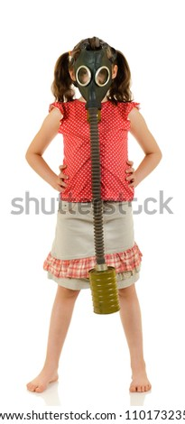 vertical photo  little girl  in gas mask, on white background, isolated - stock photo