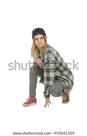 vertical photo of beauty blonde woman in casual clothes looking away  isolated on white