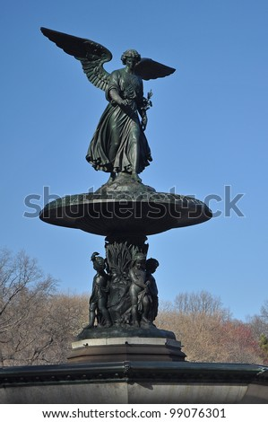vertical photo of Bethesda Fountain in Central Park, Manhattan, New York. - stock photo