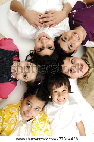 Vertical  photo of children group,  friends smiling isolated on white, boys and girls closeup - stock photo