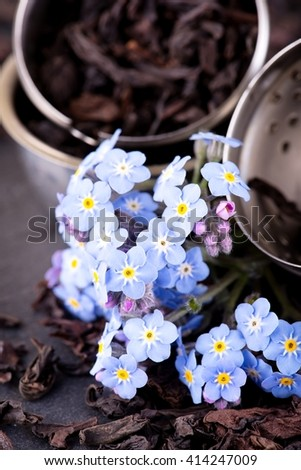Vertical photo of flower with several small blue blooms and purple buds in front of tea strainer full of dry tea leaves. All is placed on black slate stone.