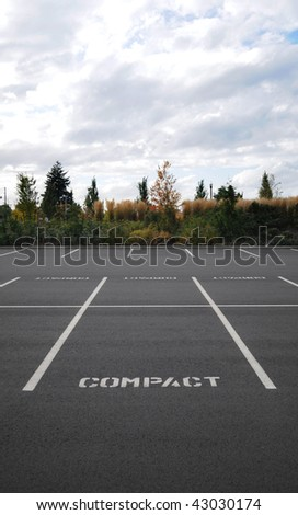 Vertical photograph of a parking lot with the word COMPACT in all spaces with trees and sky in background. - stock photo