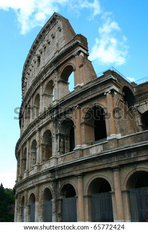 Vertical picture of the Colosseum arena in Rome, Italy