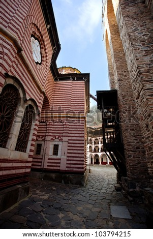 vertical picture on monastery yard in bulgaria - stock photo