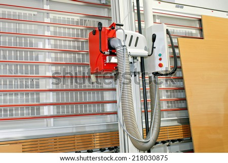 Vertical planer for cutting wood and veneer boards  - stock photo