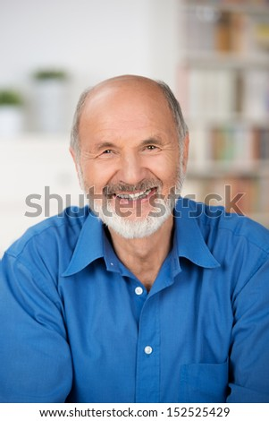 Vertical portrait of a Caucasian cheerful bearded senior man smiling at camera and wearing a blue shirt - stock photo