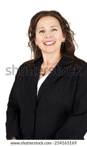 Vertical portrait of smiling professional woman - stock photo