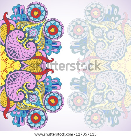Vertical psychedelic ornamental background